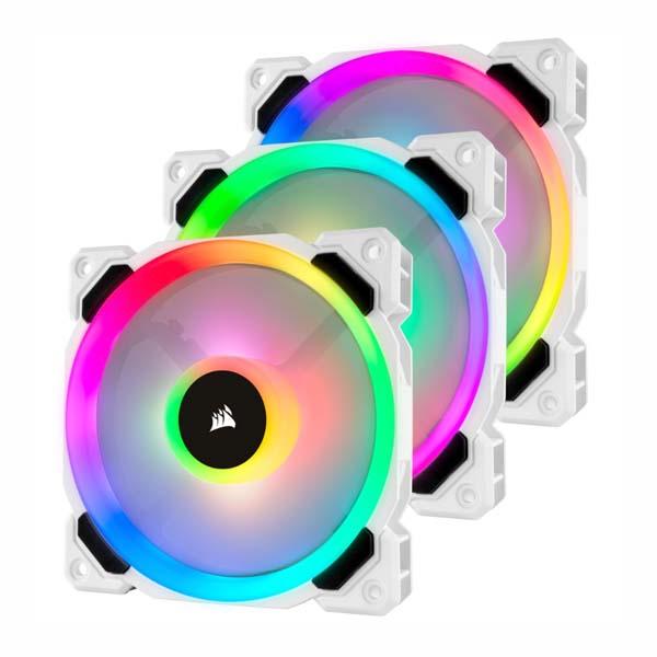 Bộ 3 quạt máy tính Corsair LL120 Trắng RGB kèm Lighting Node PRO CO-9050092-WW - hakivn