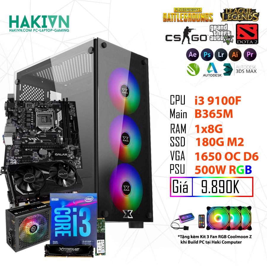 PC GAMING HỦY DIỆT (I3 9100F/B365/8GB RAM/GTX 1650 4GB/SSD 180GB/500W RGB) - hakivn