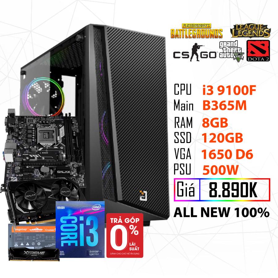 PC GAMING HỦY DIỆT (I3 9100F/B365/8GB RAM/GTX 1650 4GB/SSD 120GB/500W ) - hakivn