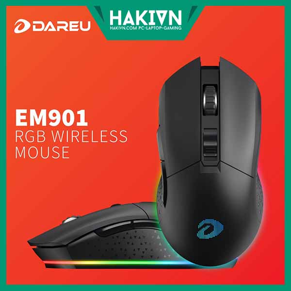 Chuột không dây Gaming Dareu EM901 Black - Wireless ( Tặng kèm bàn di Dareu) - hakivn