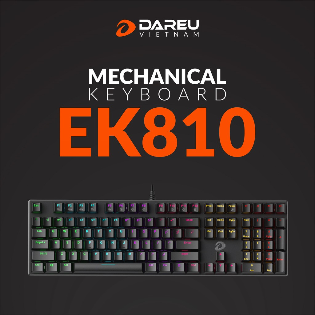 Bàn phím cơ Gaming DAREU EK810 - Black (MULTI-LED, Blue/ Brown/ Red D switch) - hakivn