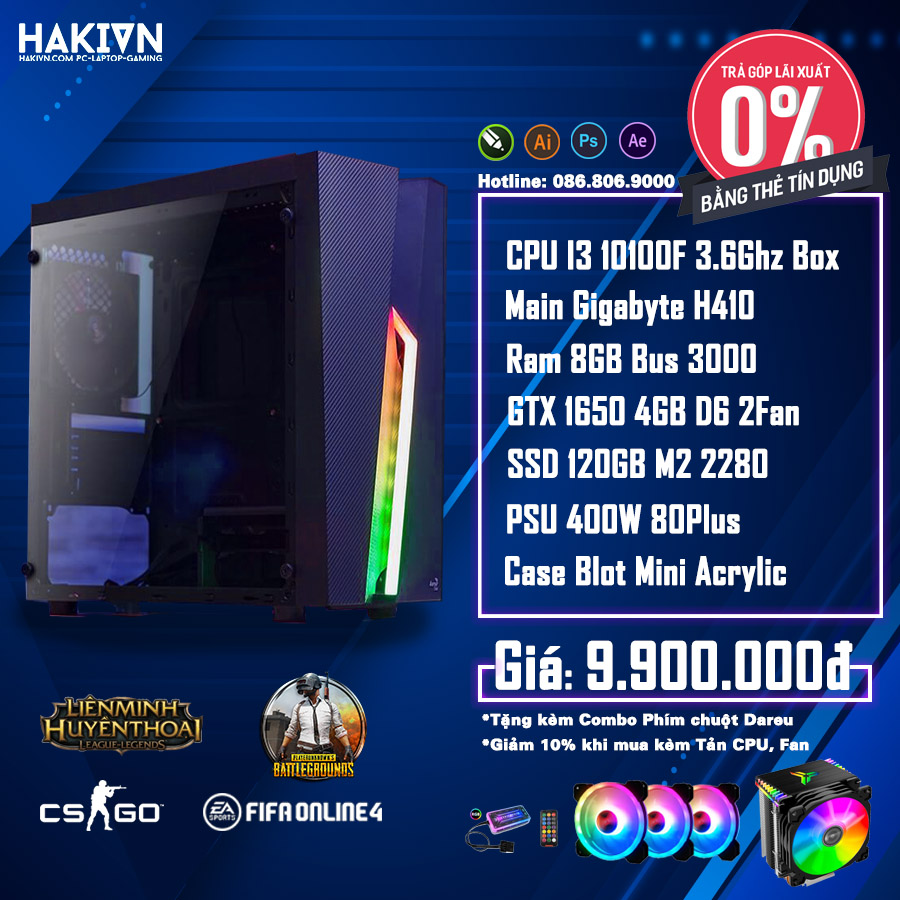 PC HAKI INTEL I3 10100F / 8GB / GTX 1650 DDR6 4GB / SSD120GB - hakivn